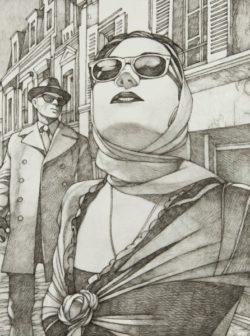 Fusain pour l'affiche du Salon du Polar-Miles Hyman